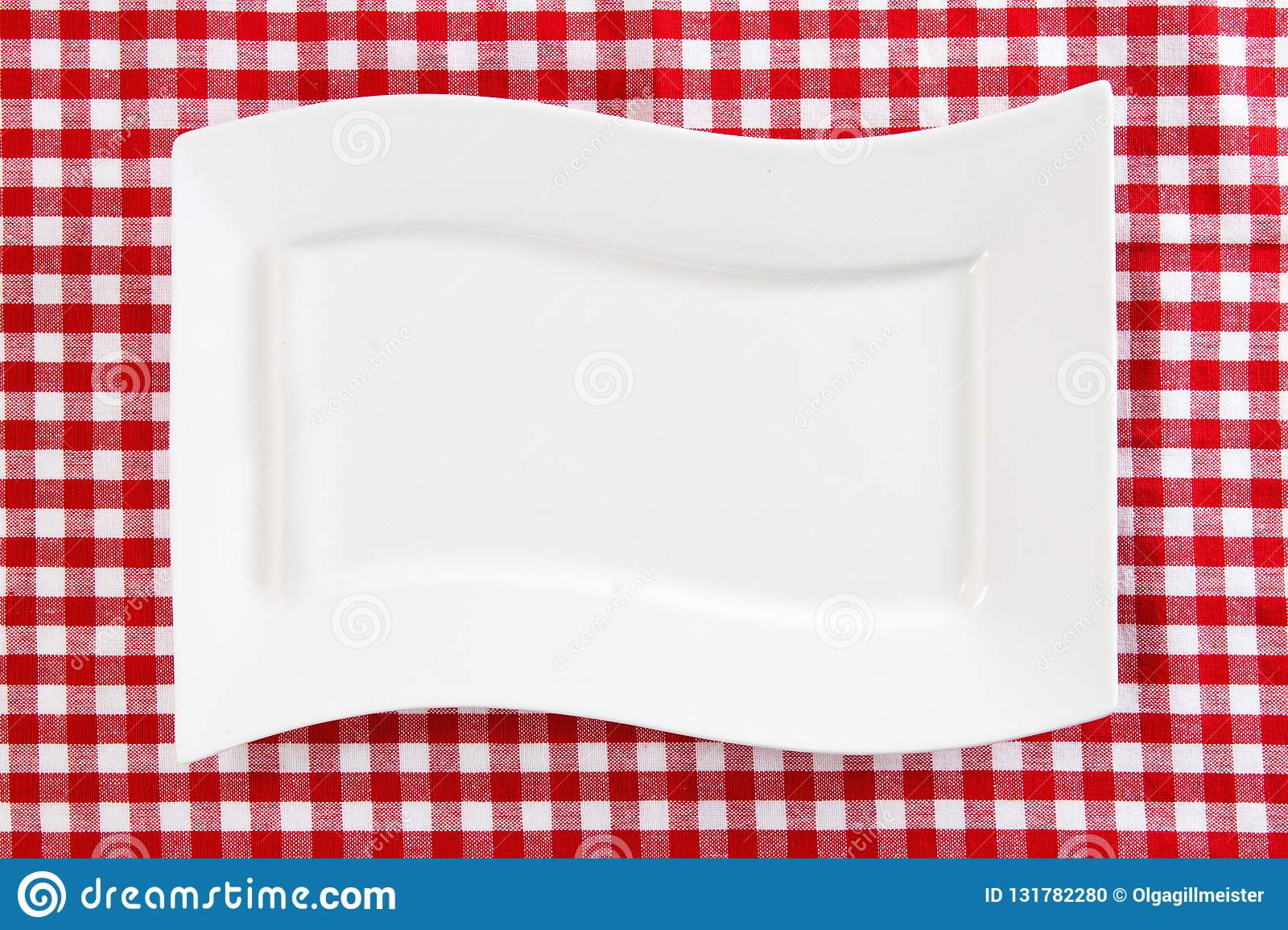 empty white plate on red napkin or tablecloth top view template