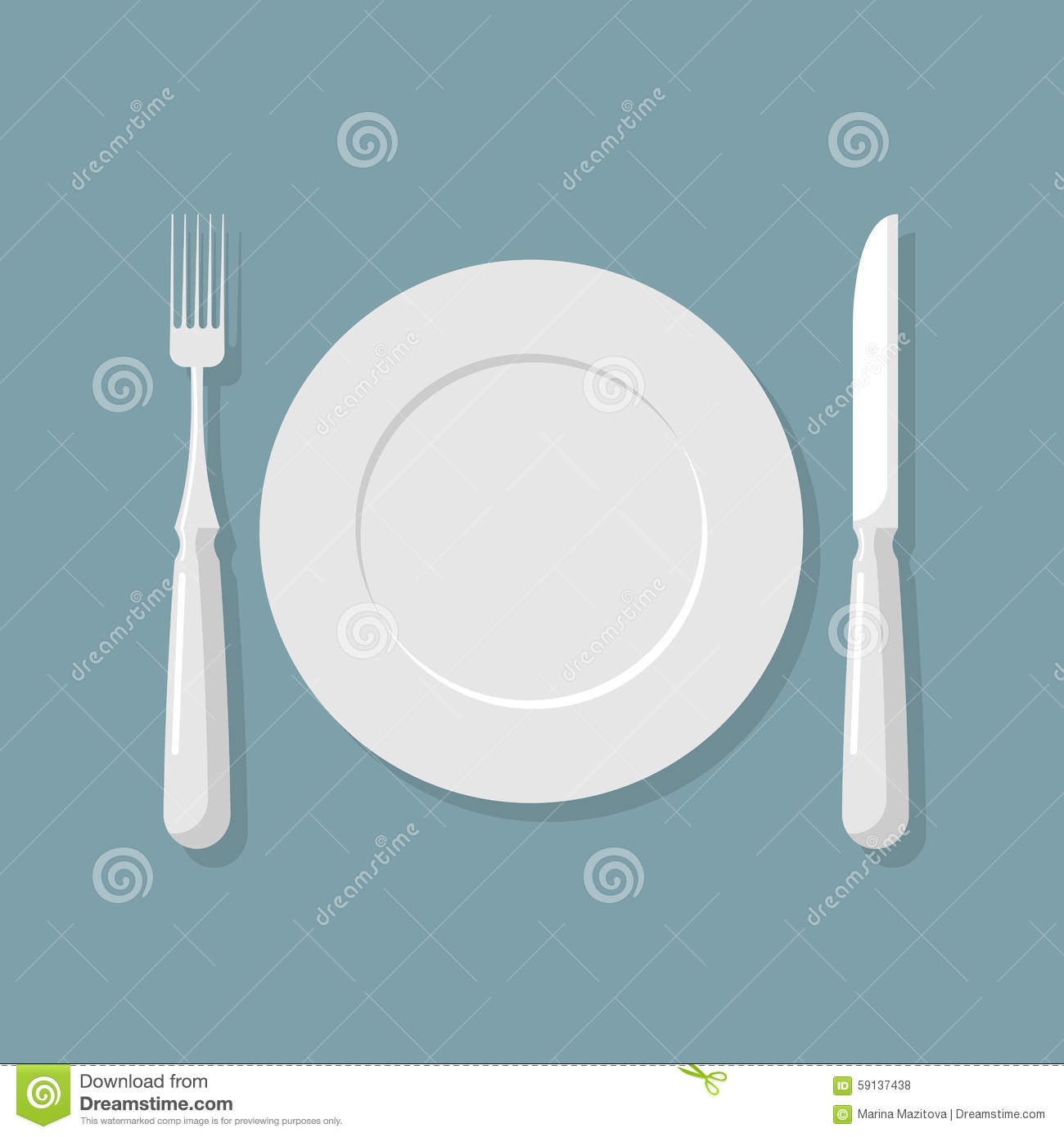 Empty White Plate Top View. Knife And Fork. Cutlery. Vector Illu ...