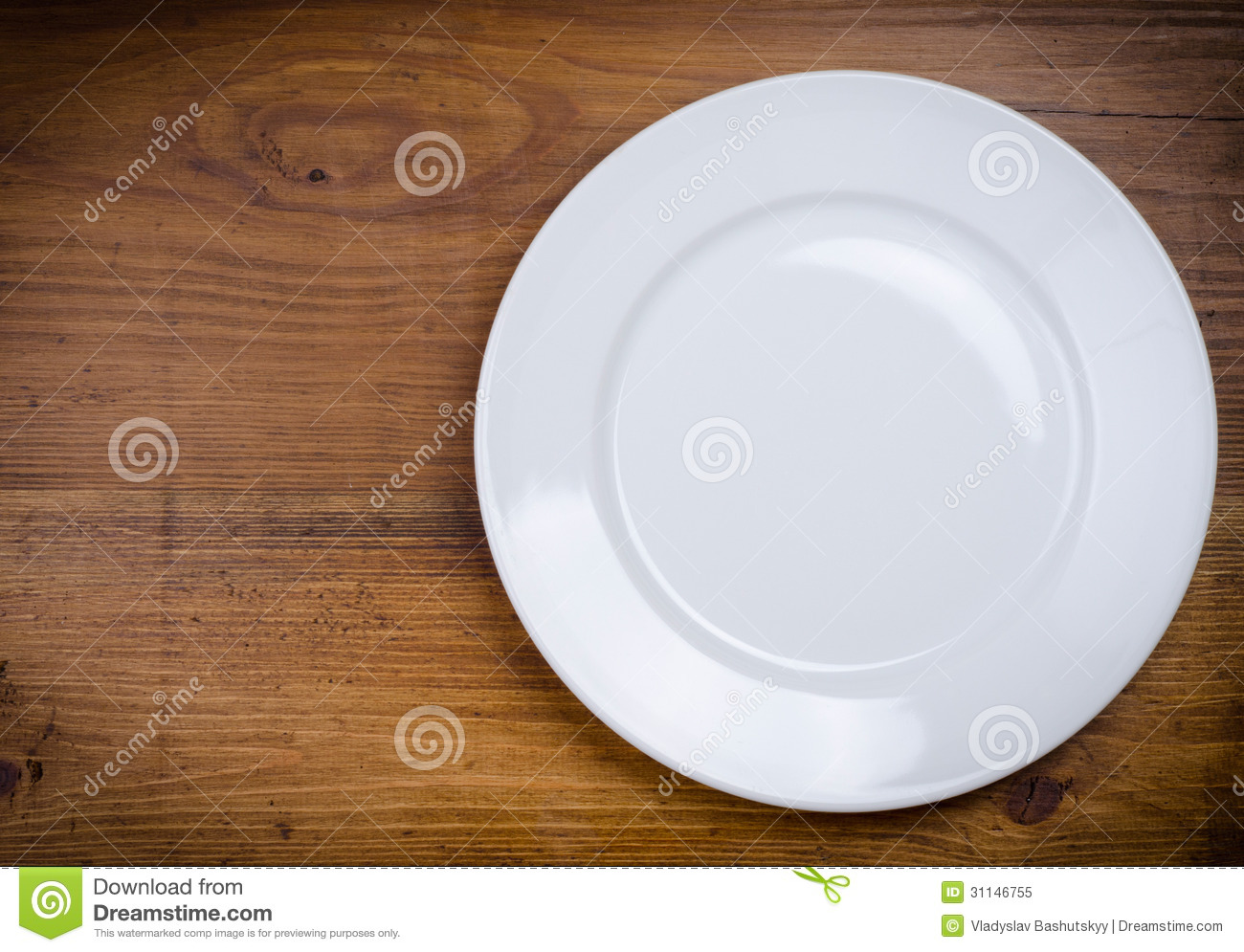 Empty White Plate On Wooden Table Stock Image - Image ...
