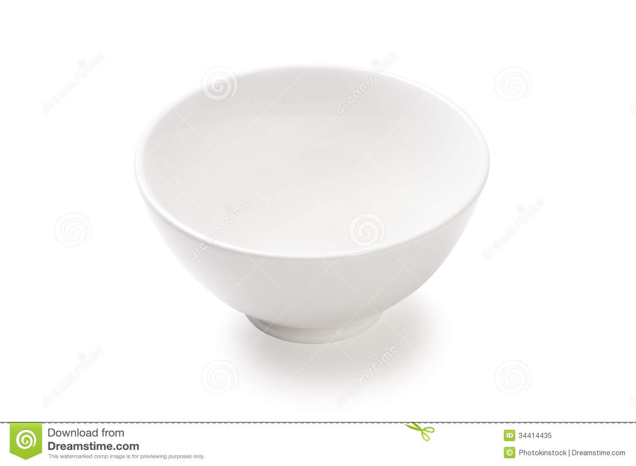 Empty White Porcelain Bowl On A White Background Royalty
