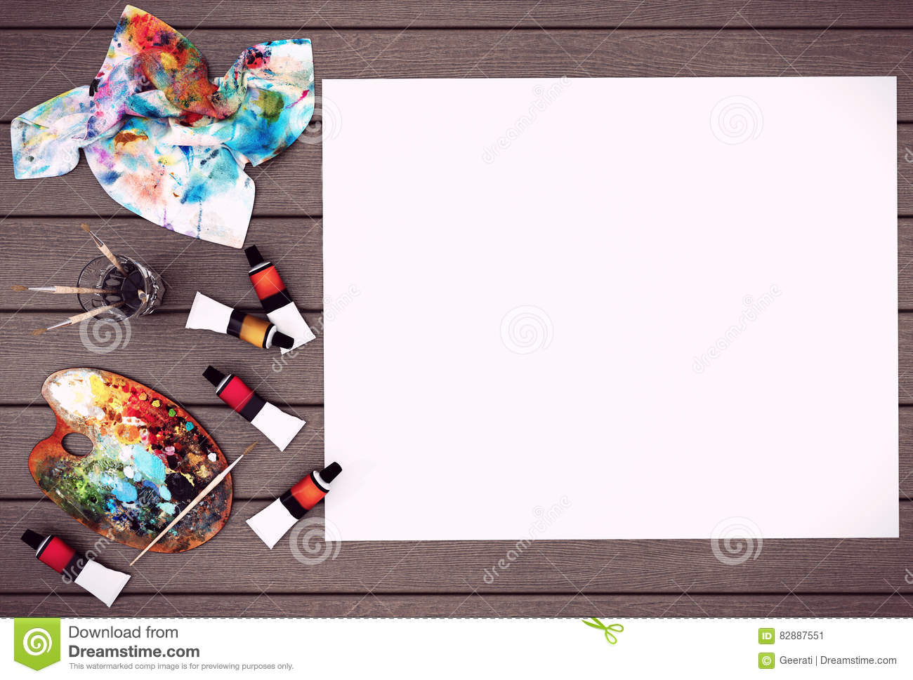 Empty White Poster Paper With Space For Mock Up On Wood Background