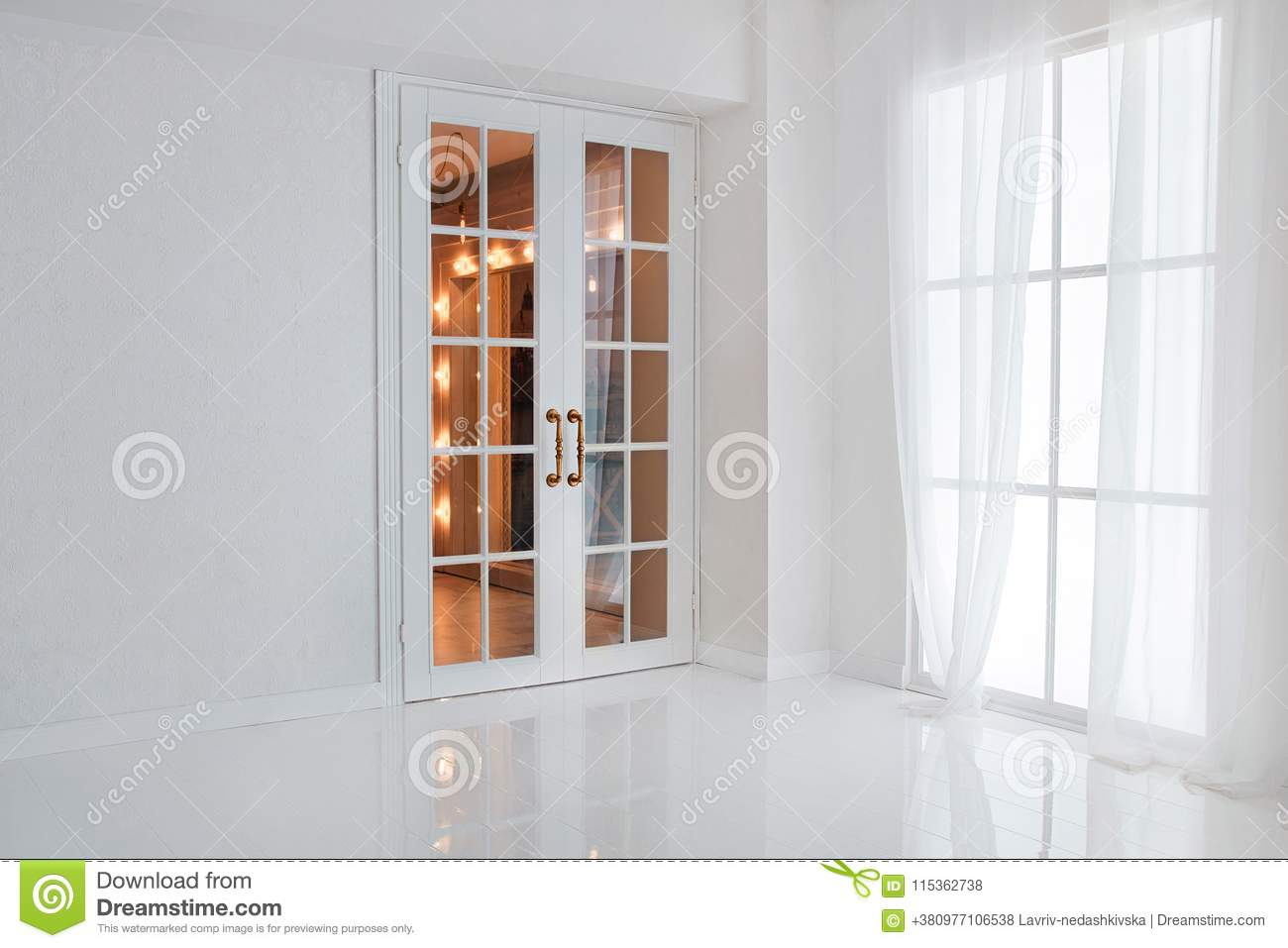 Empty white room with big window and glass french door with bright orange lights