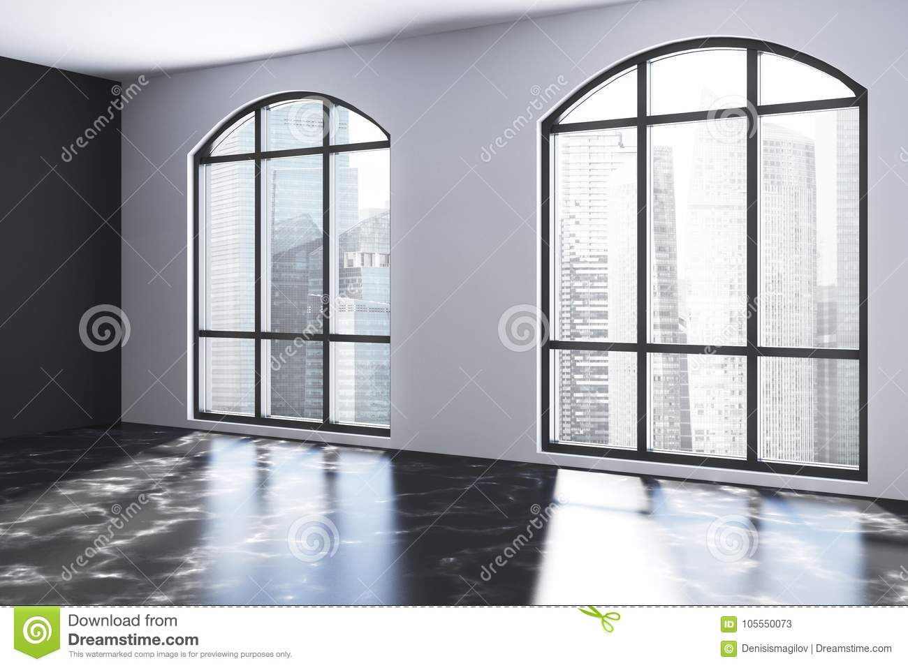 Empty White Room With Black Marble Floor Stock Illustration Illustration Of Loft Contemporary 105550073