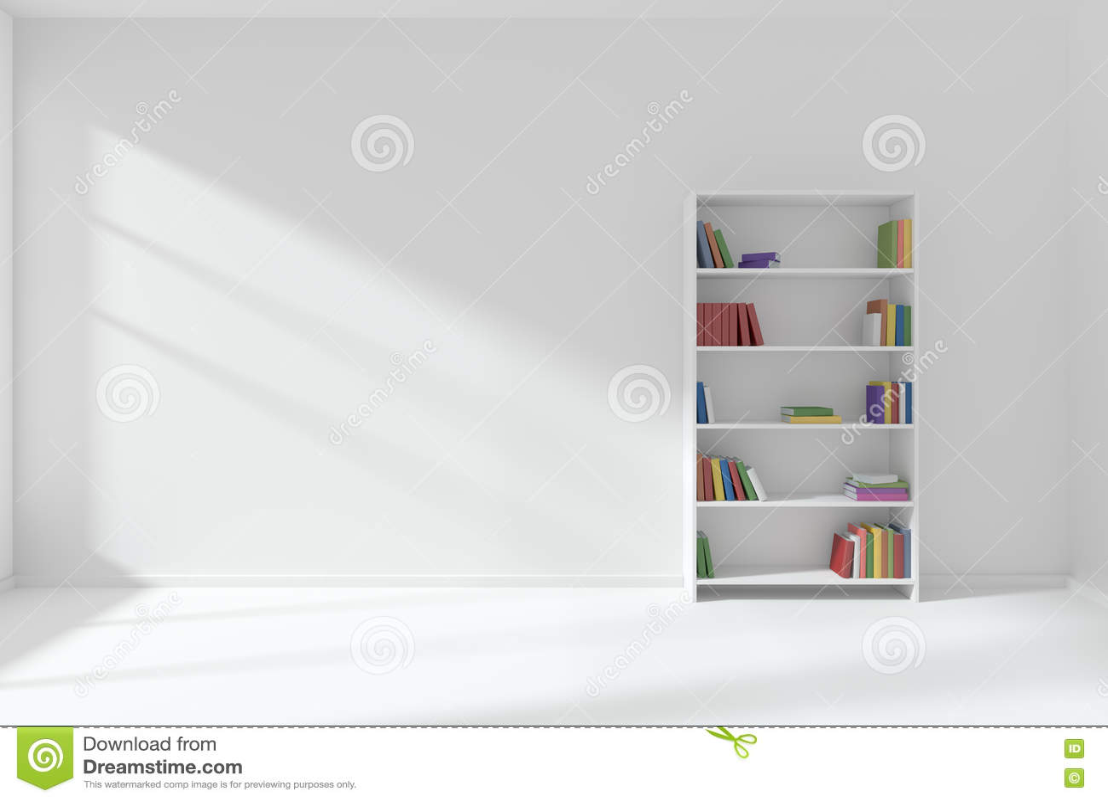 Empty white room with bookcase minimalist interior