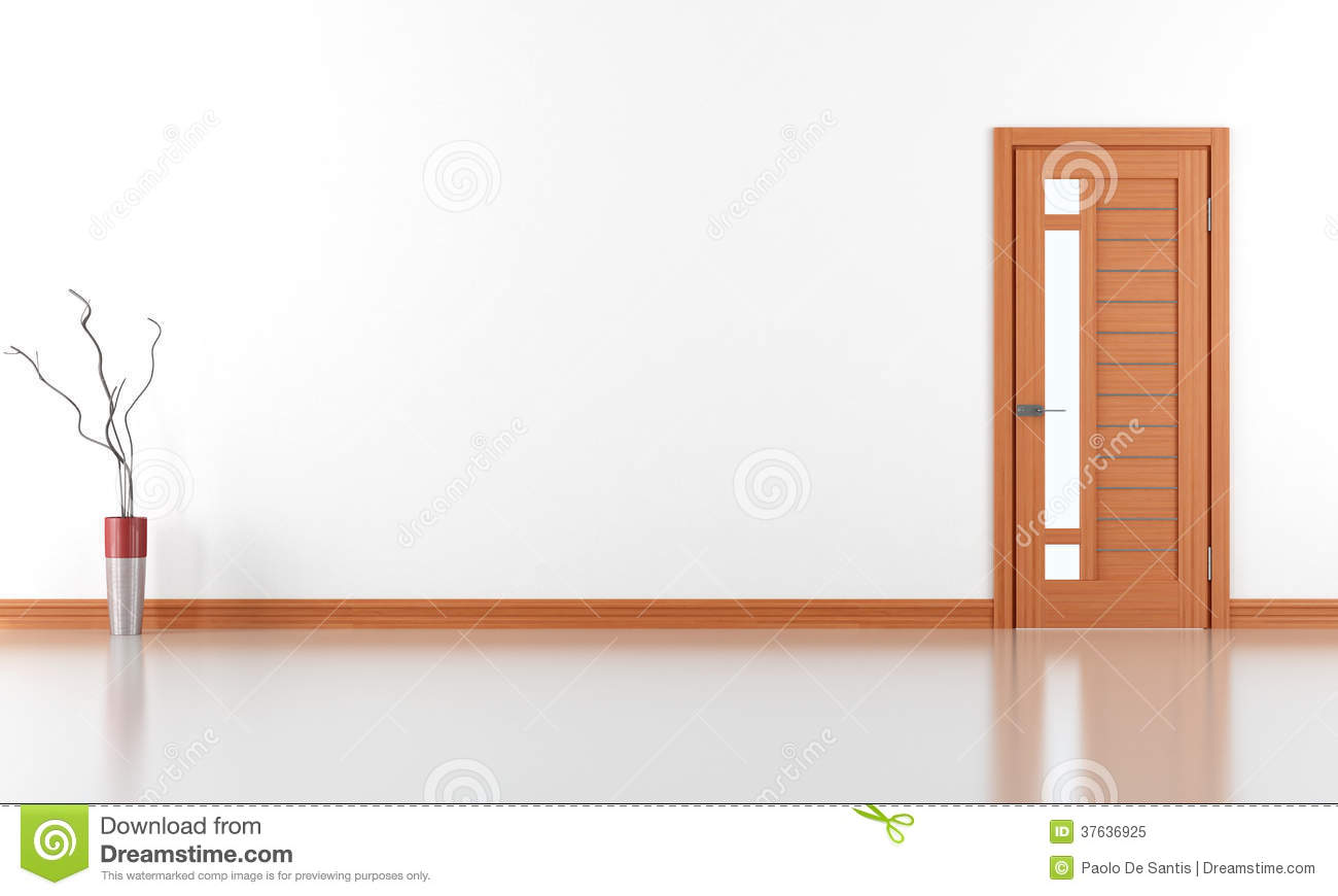 Empty white room with closed door Royalty Free Stock Photo