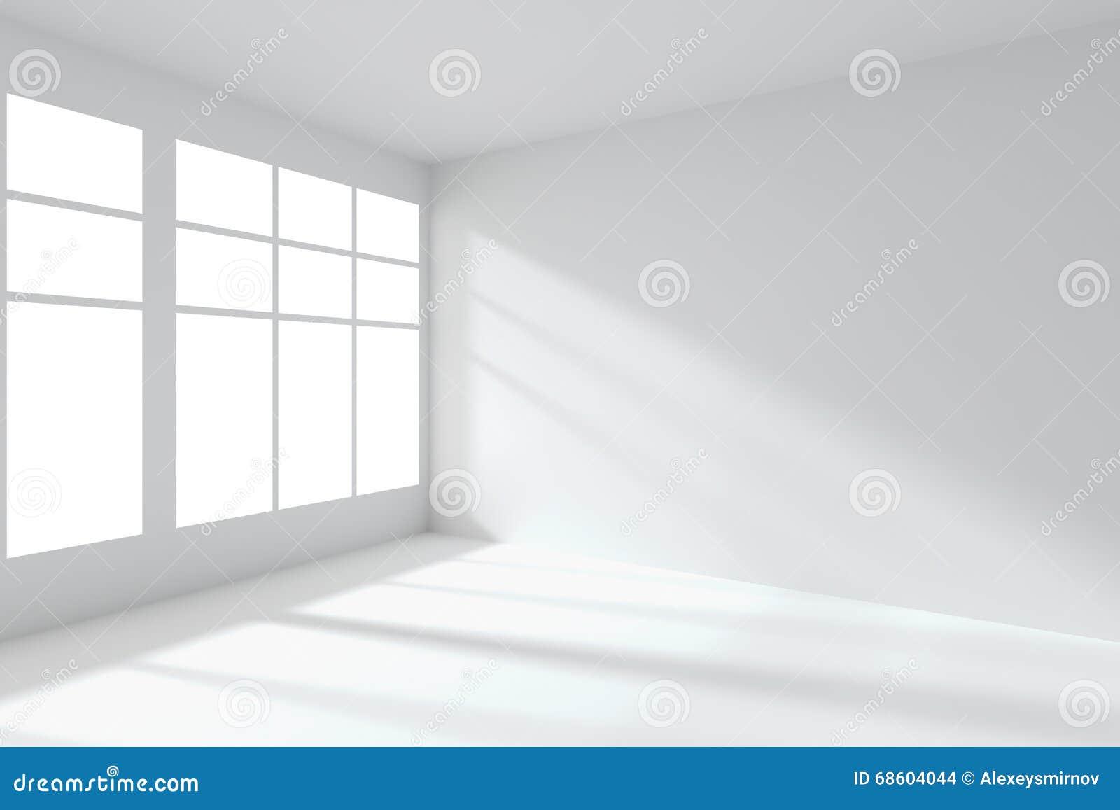 Empty White Room Corner With Windows Interior Stock