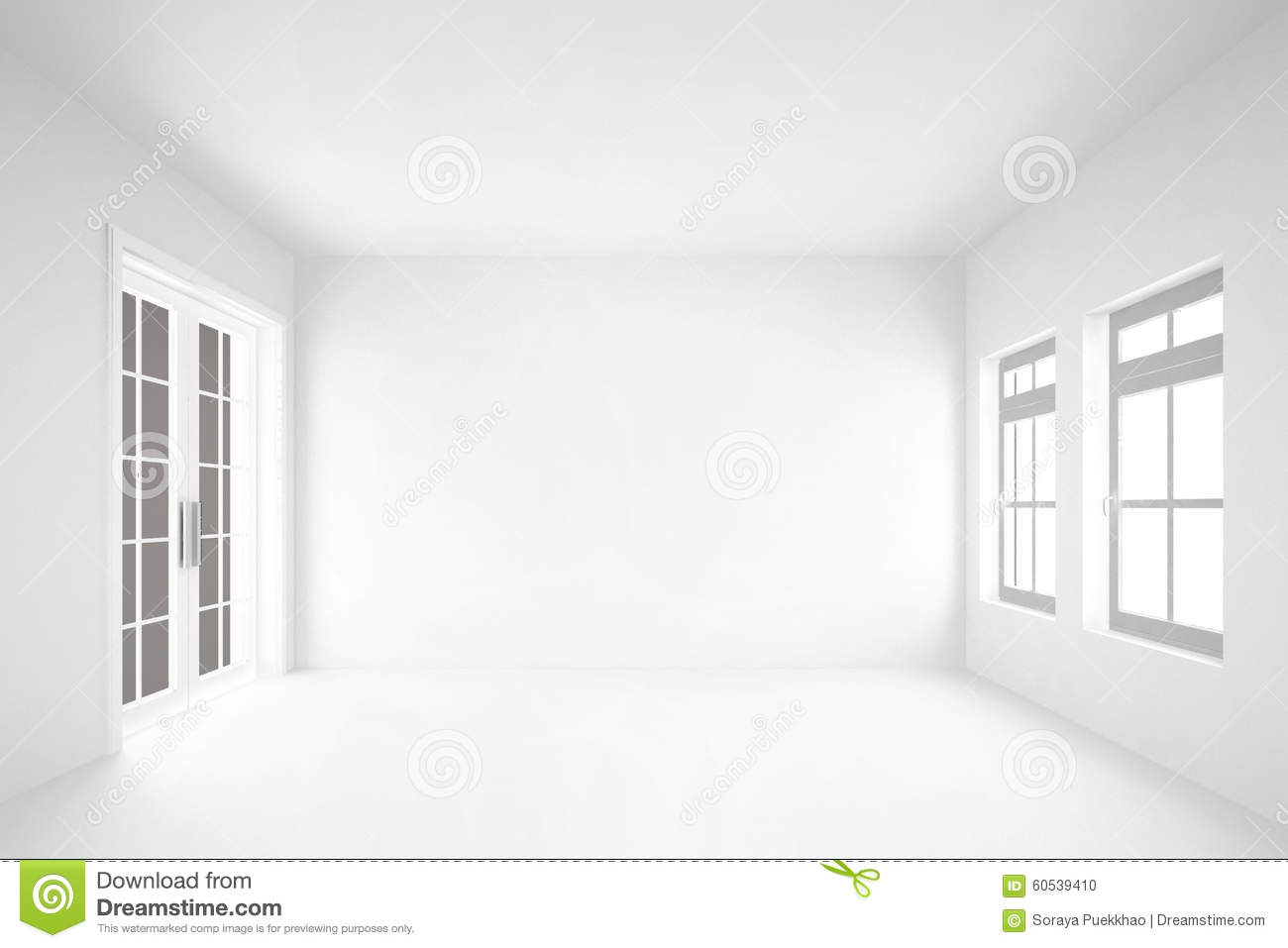 Empty living room with large windows can be as background stock - Background Door Empty Interior Room