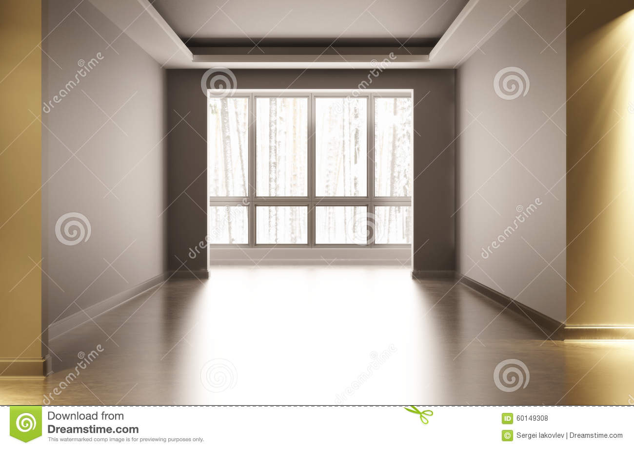 Artificial Window Empty White Room With Interior Decoration In The Room There Is