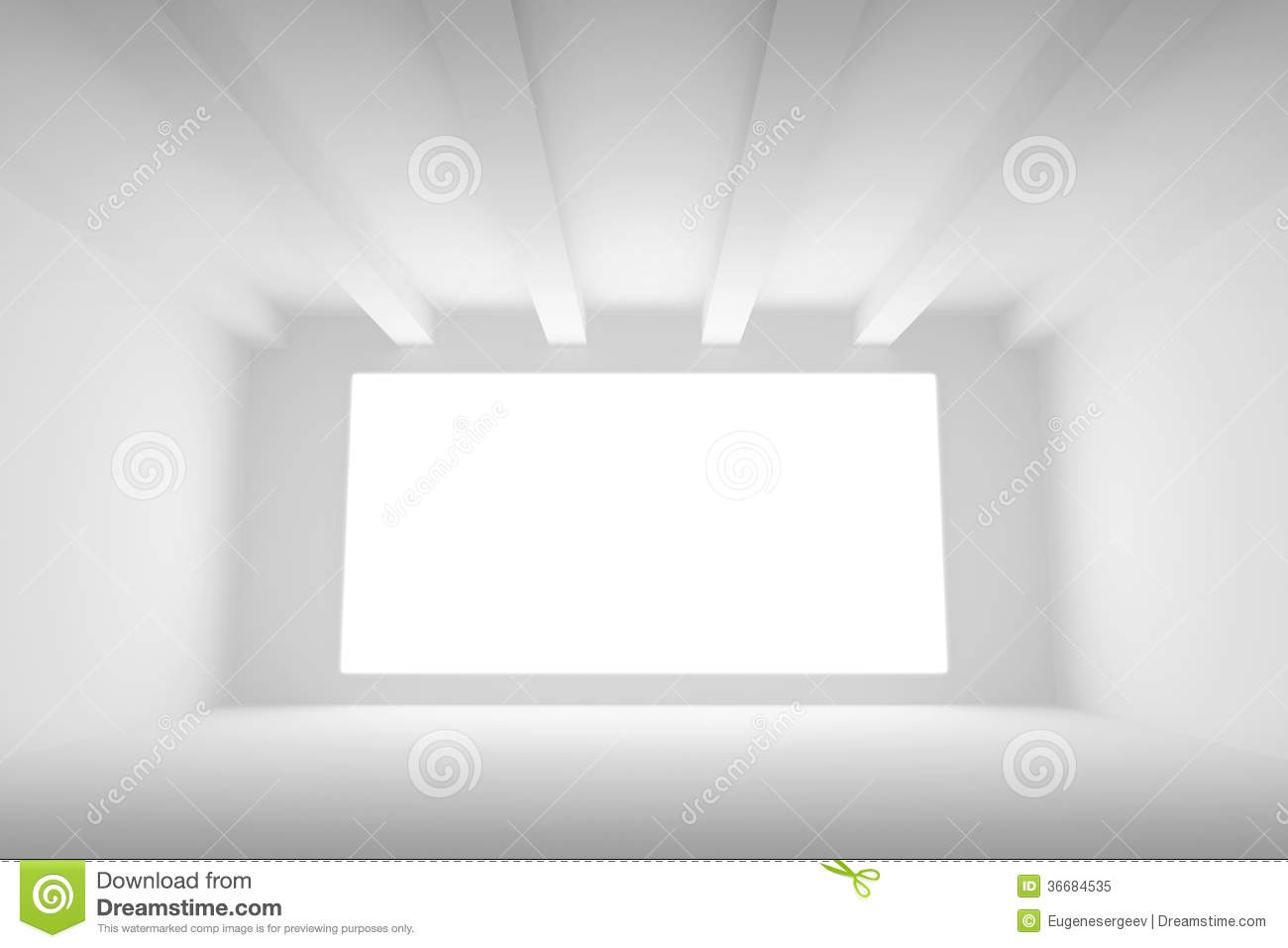 Empty white room interior with light screen royalty free - White lights for room ...