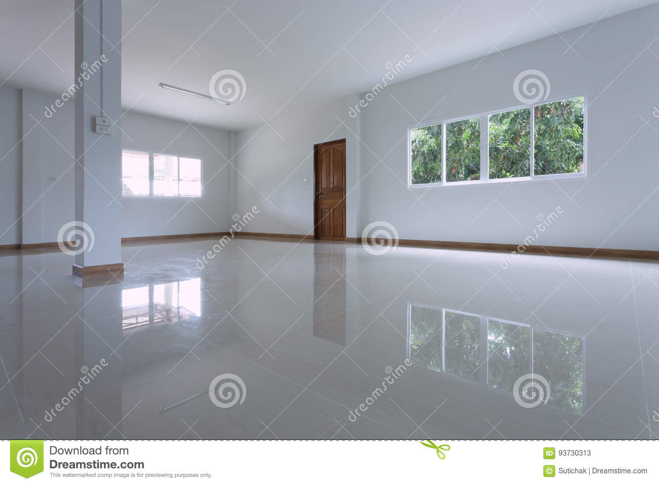 Empty White Room Interior In Residential House Building Stock Image ...