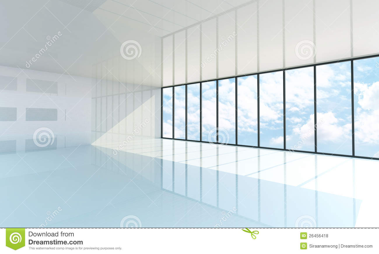 Empty room with window and door - Empty White Room With The Large Window Royalty Free Stock Photos