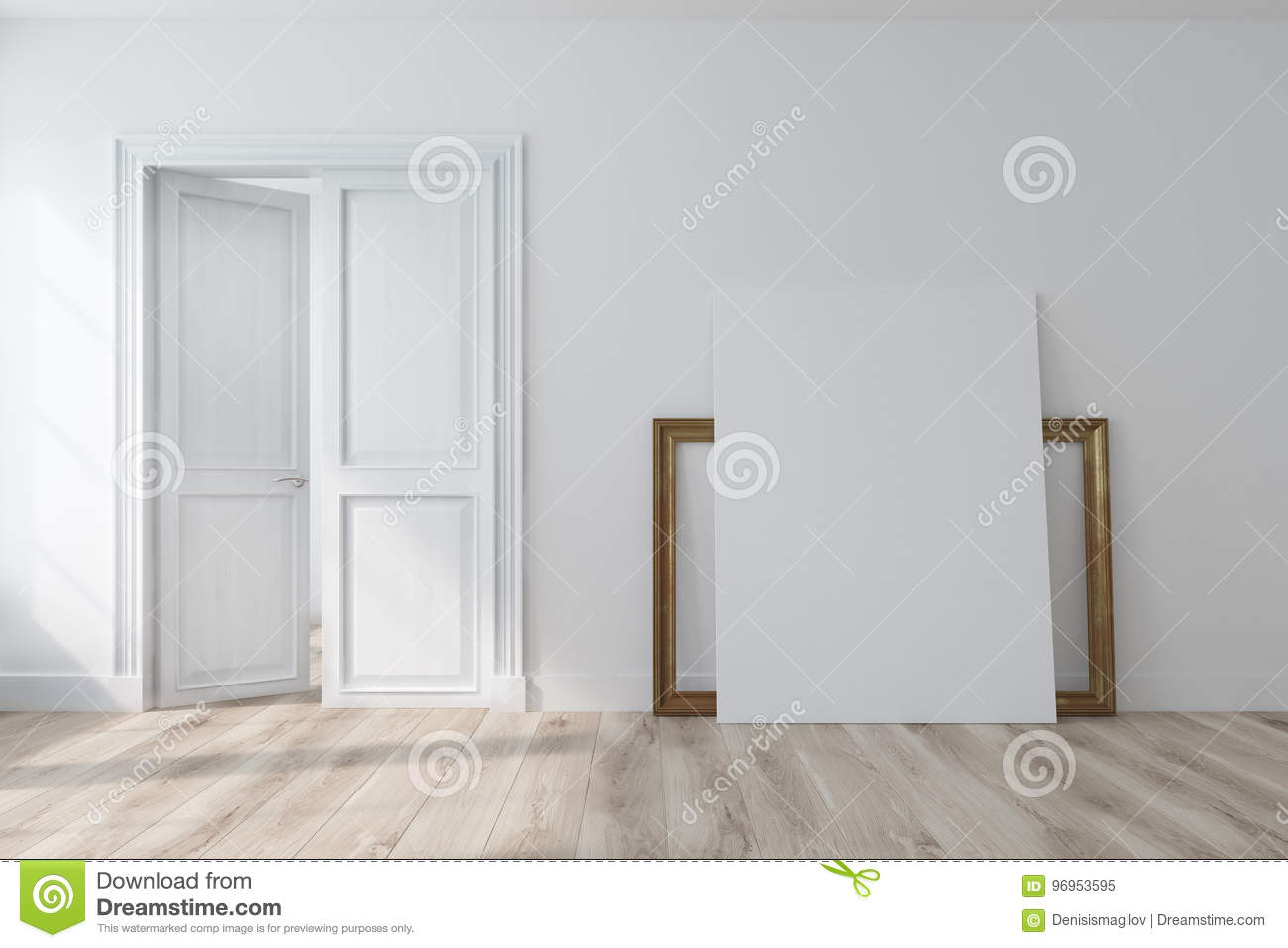 Empty White Room With An Open Door Poster Stock Illustration
