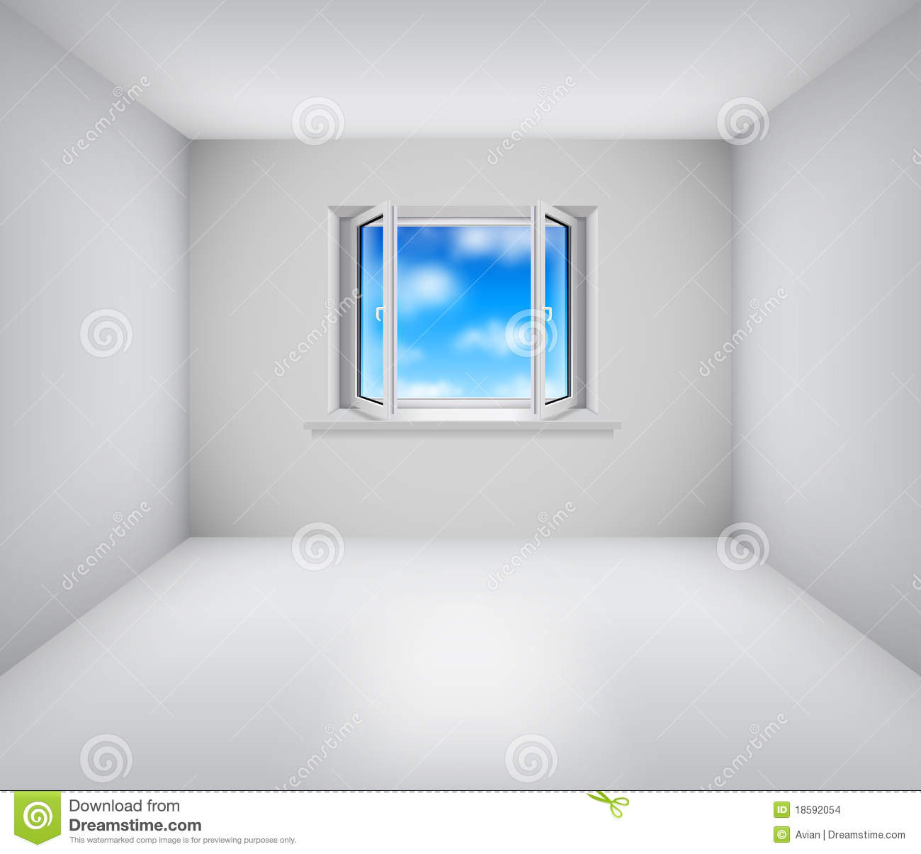 Empty White Room With Open Window Stock Images Image
