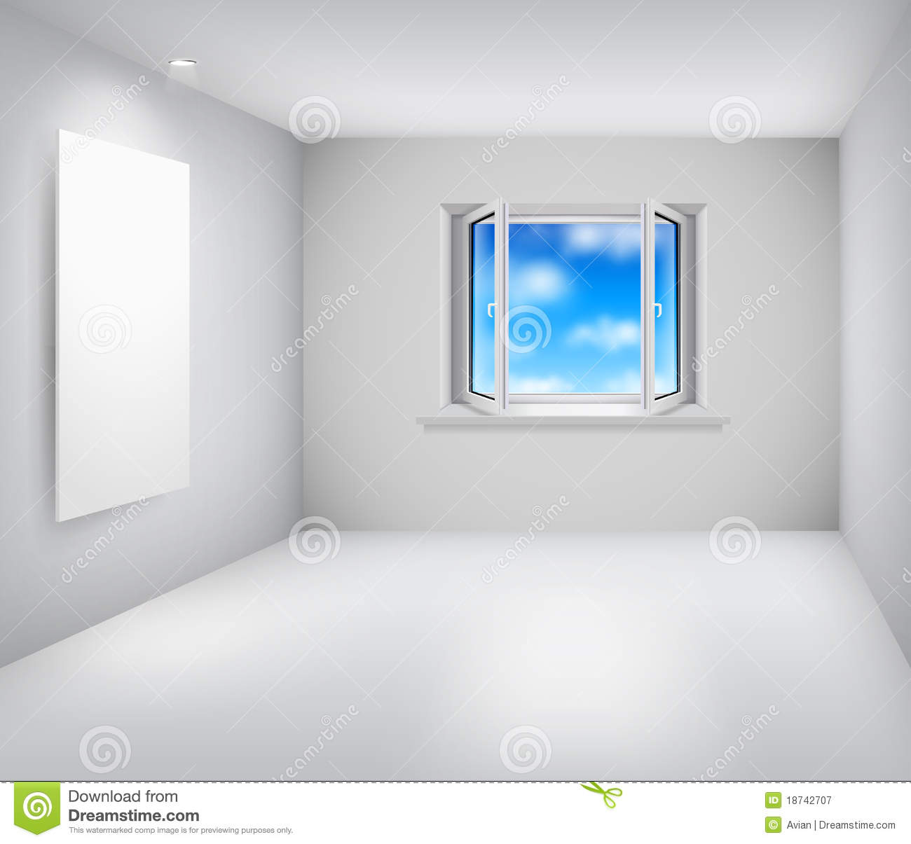 Empty White Room With Open Window And Frame Stock Vector