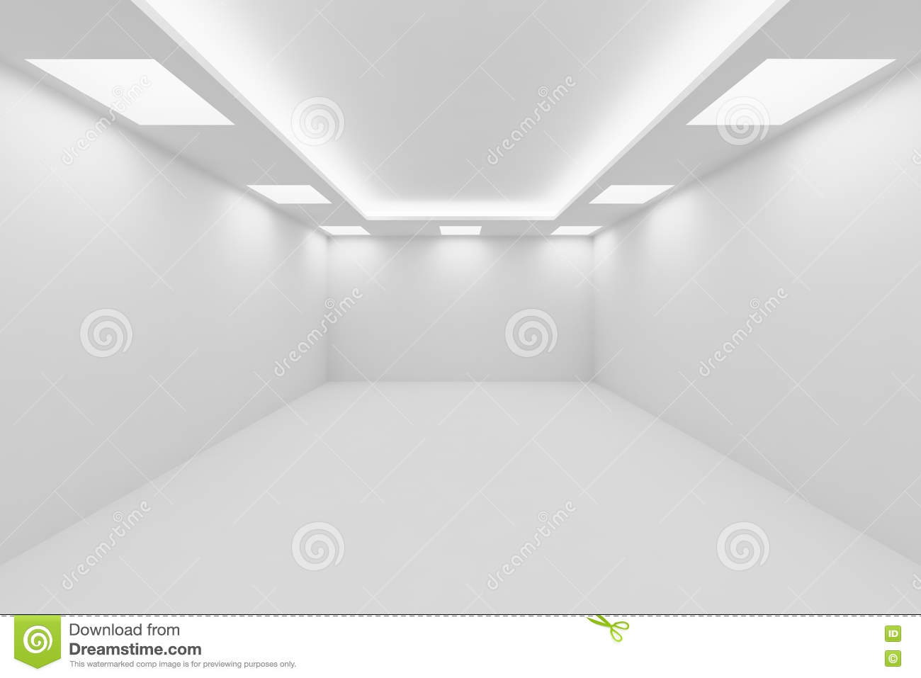 Empty White Room With Square Ceiling Lights Perspective
