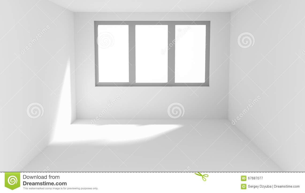 Empty White Room With Sun Spot On Wall And Floor Stock