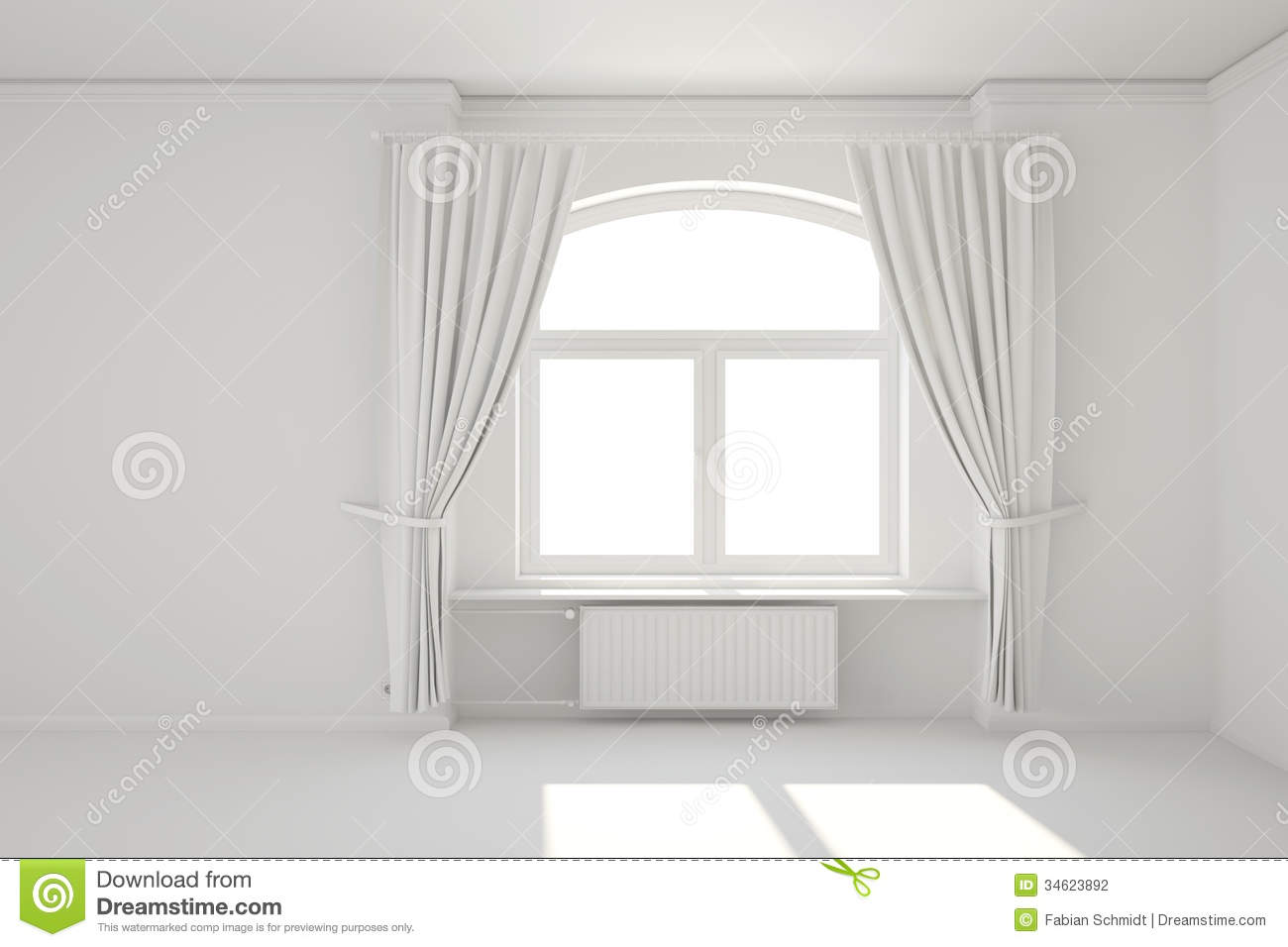 empty white room with window stock illustration image 34623892. Black Bedroom Furniture Sets. Home Design Ideas