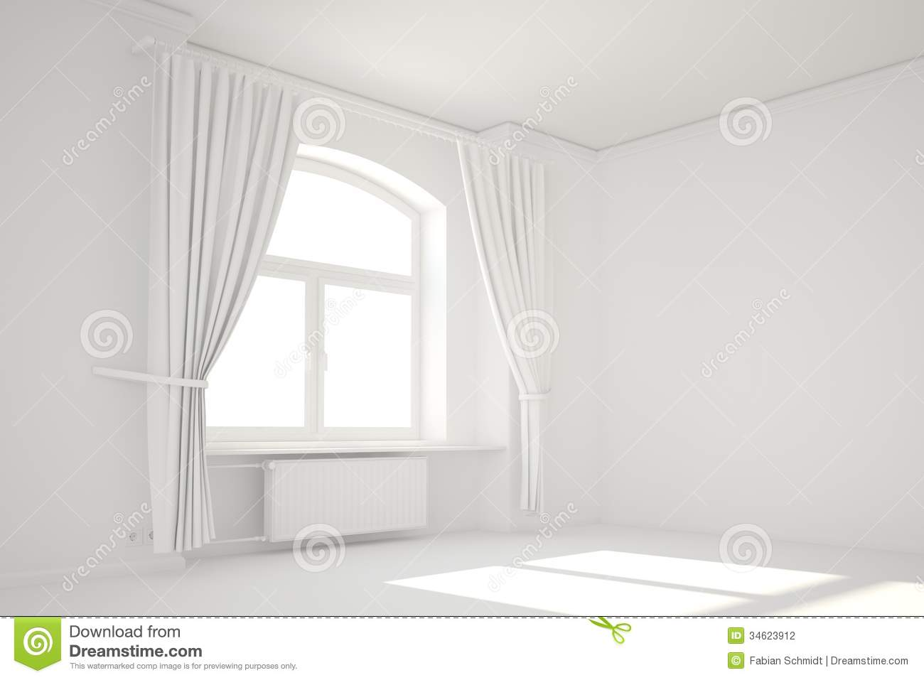 Empty White Room With Window Template System