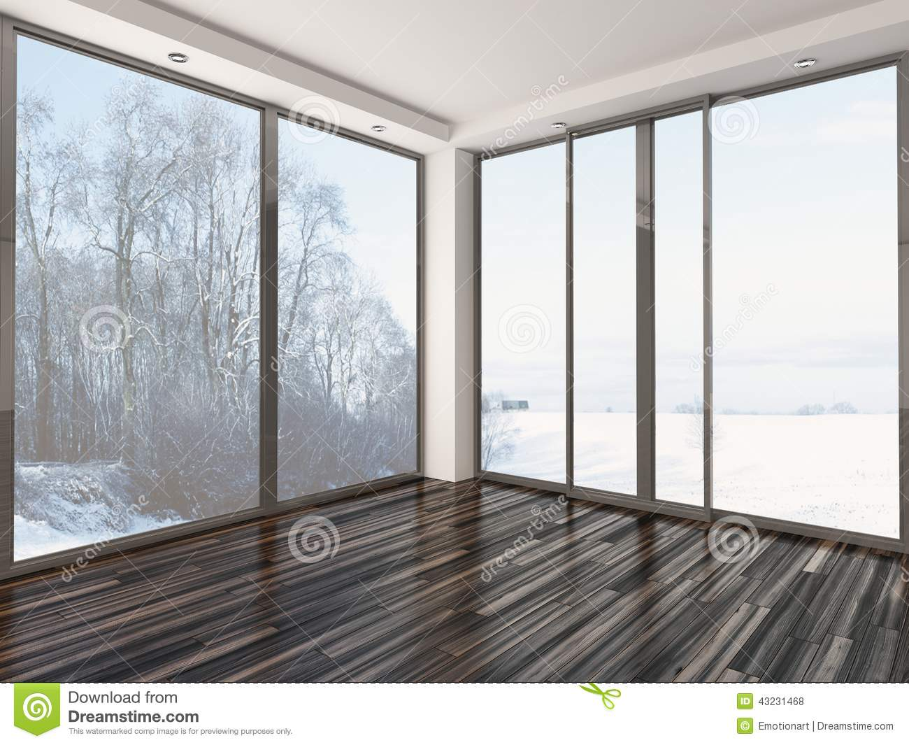 Empty White Room With Winter View Stock Illustration