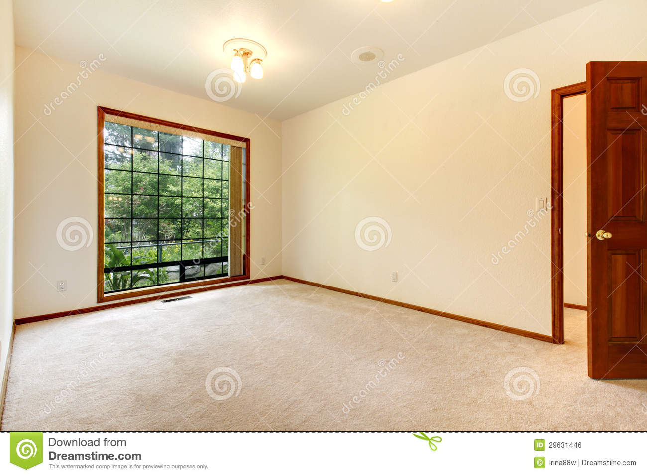 Empty White Room With Wood Door And Beige Carpet Royalty