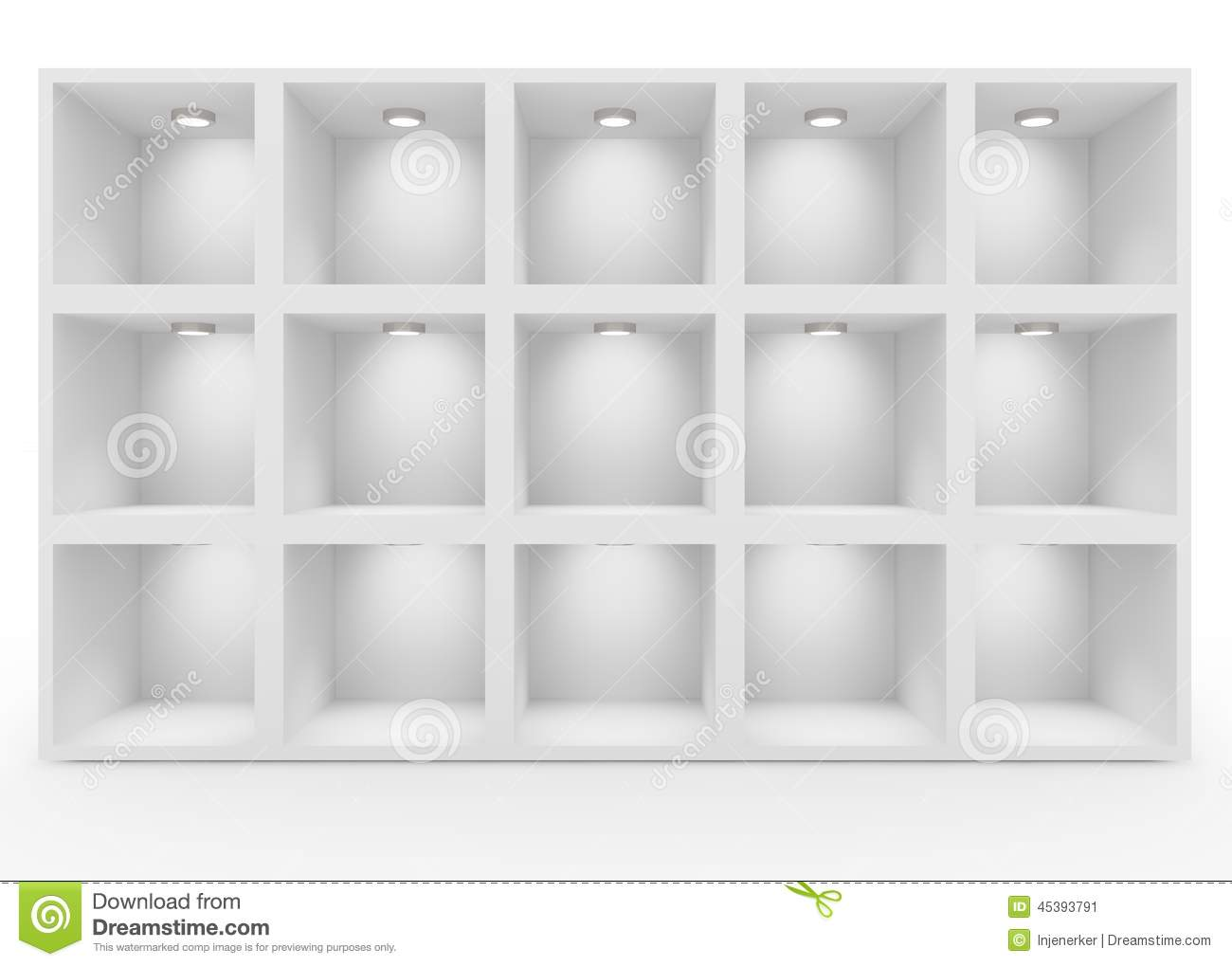empty white shelves with lighting stock photo image 45393791. Black Bedroom Furniture Sets. Home Design Ideas