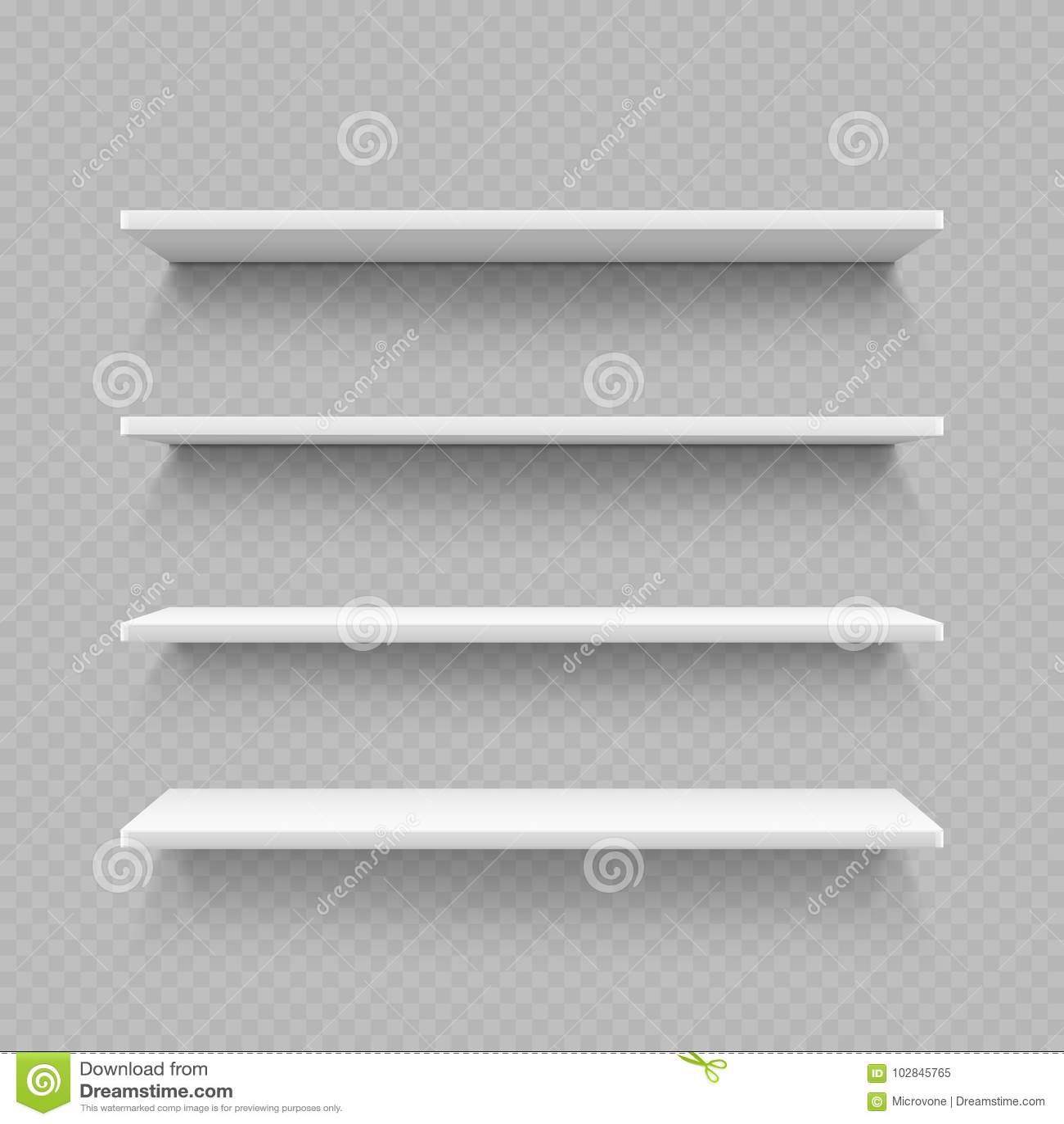 Empty White Shop Shelf On Transparent Background