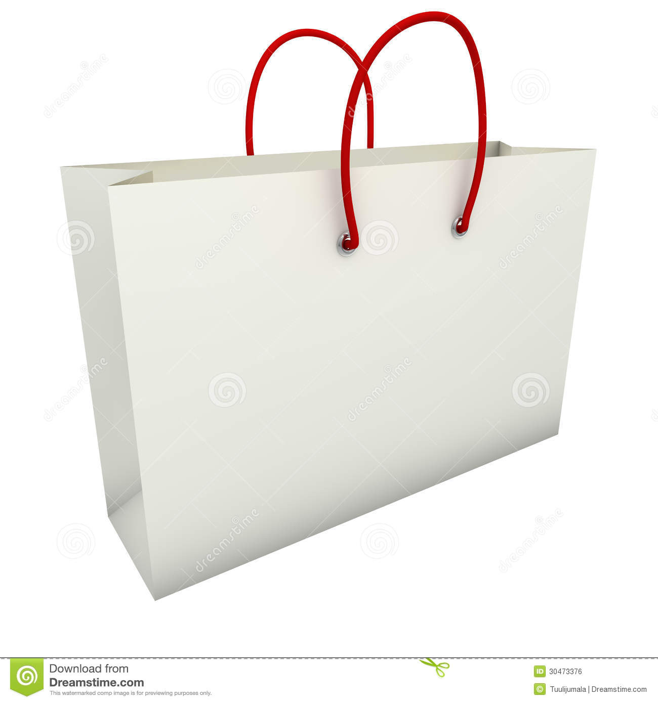 Empty White Shopping Bag With Red Handles Royalty Free ...