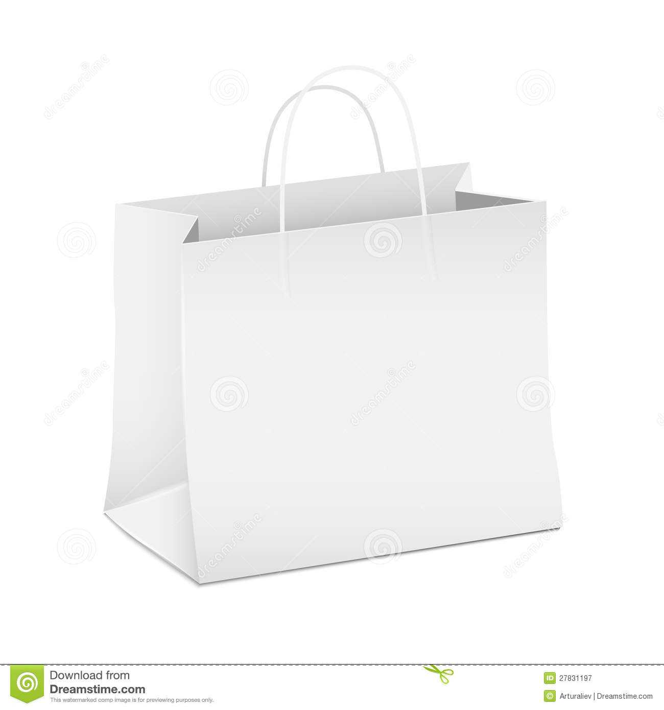 Empty White Shopping Paper Bag Stock Vector - Illustration ...White Paper Bag Vector