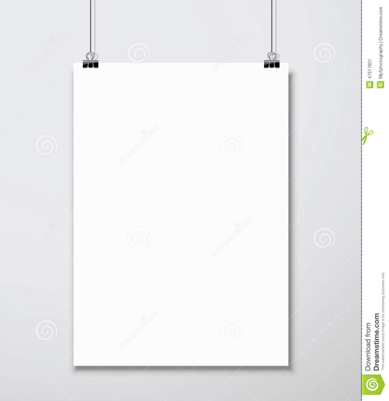 Empty White A4 Sized Vector Paper Mockup Hanging With Clip Stock Image 47517601