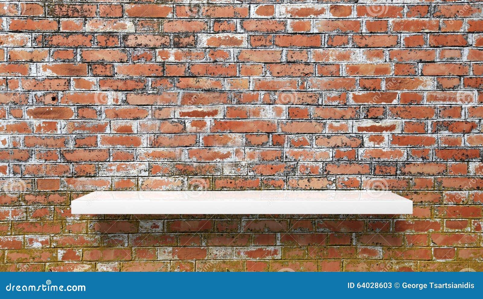 Empty white wall shelf