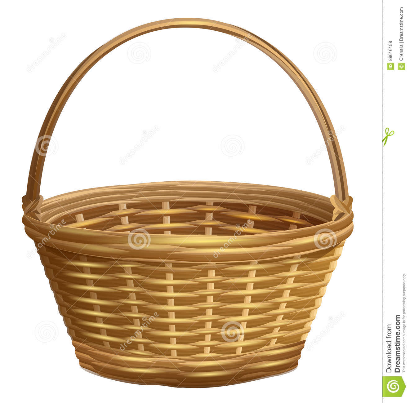 Empty Wicker Basket With Handle Arc Stock Vector Illustration Of