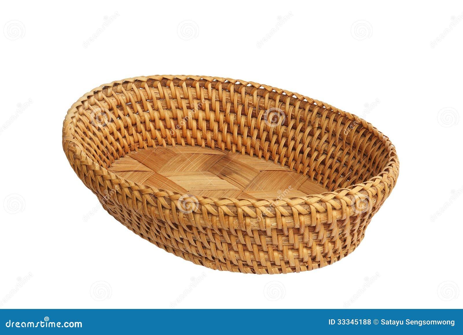 Over white background basket used for arrangement of flower or fruit