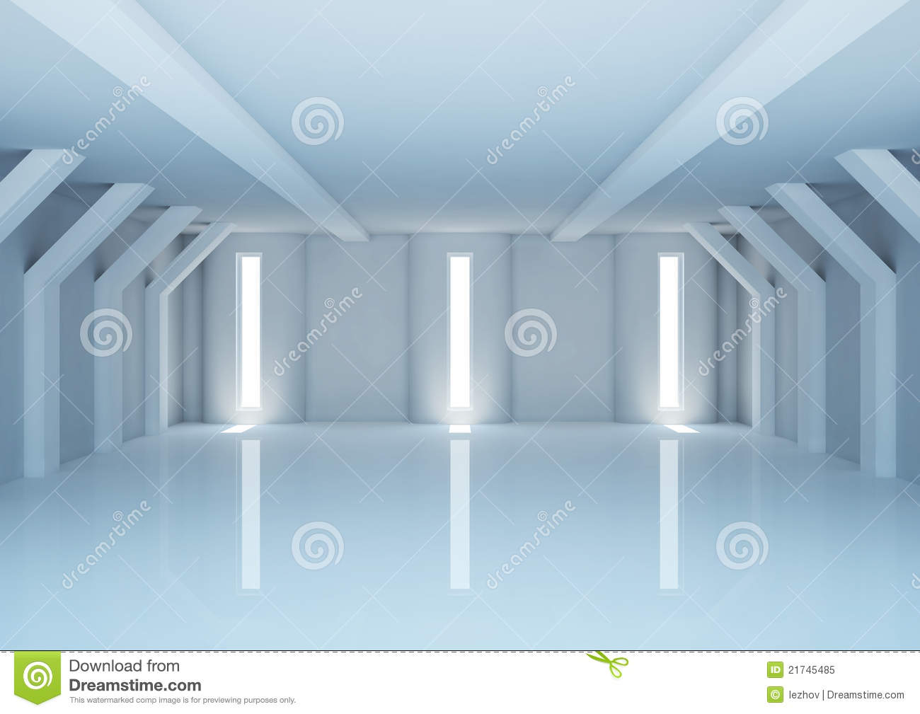 Empty Wide Room With Futuristic Columns Stock Illustration
