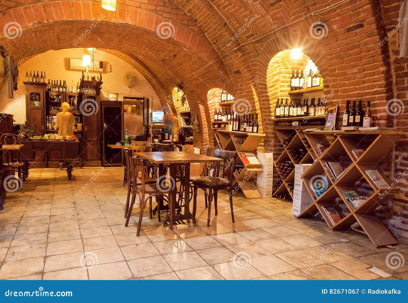 Empty wine bar inside the old brick underground with