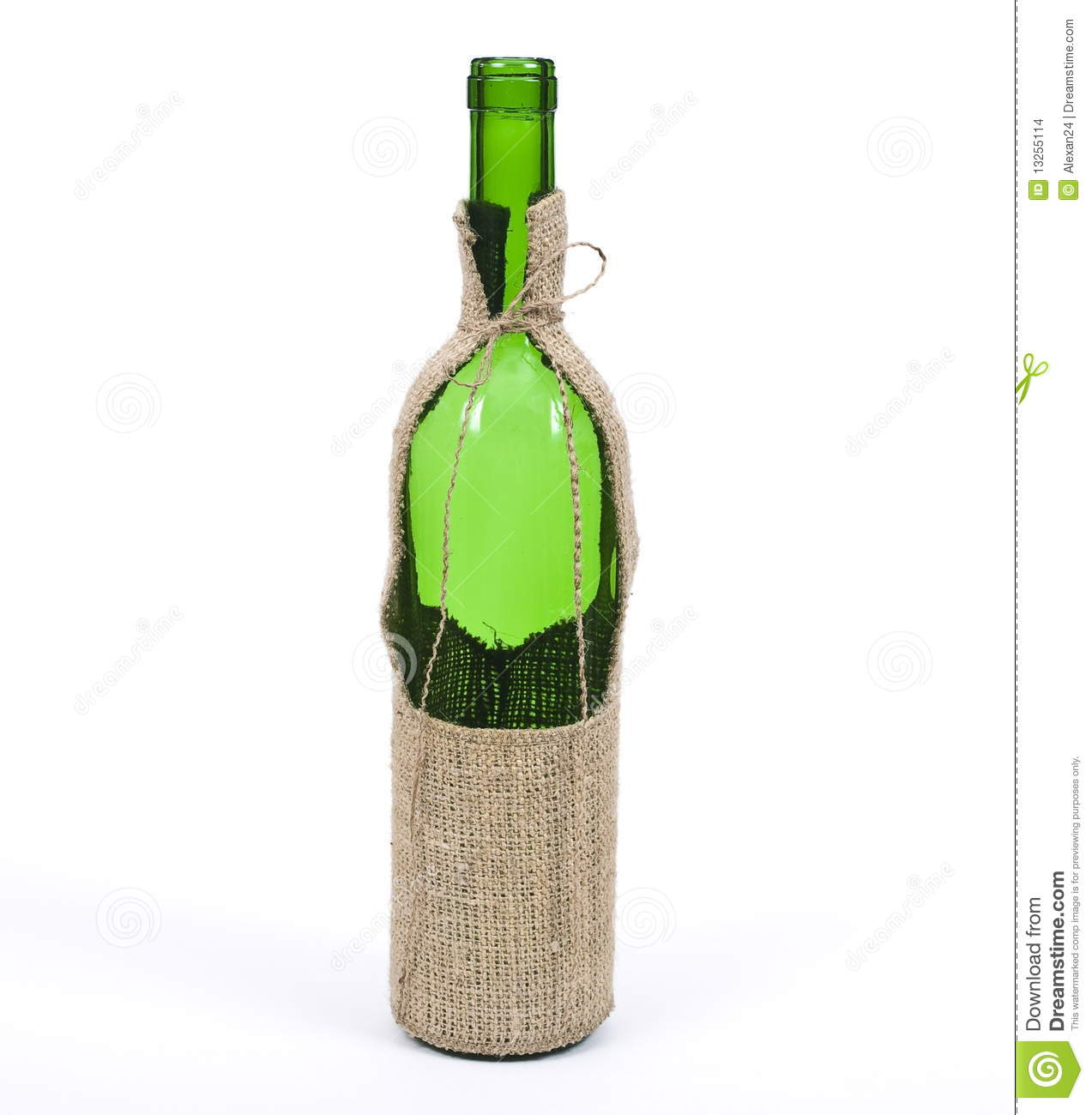 empty wine bottle in sackcloth material stock images
