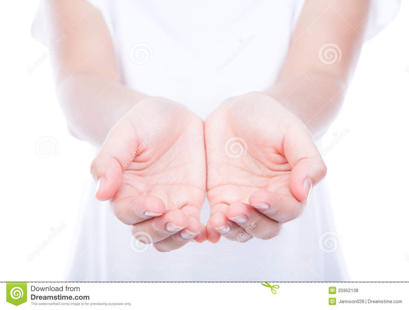 Empty Woman Hands Over Body Isolated On Background . Stock ...