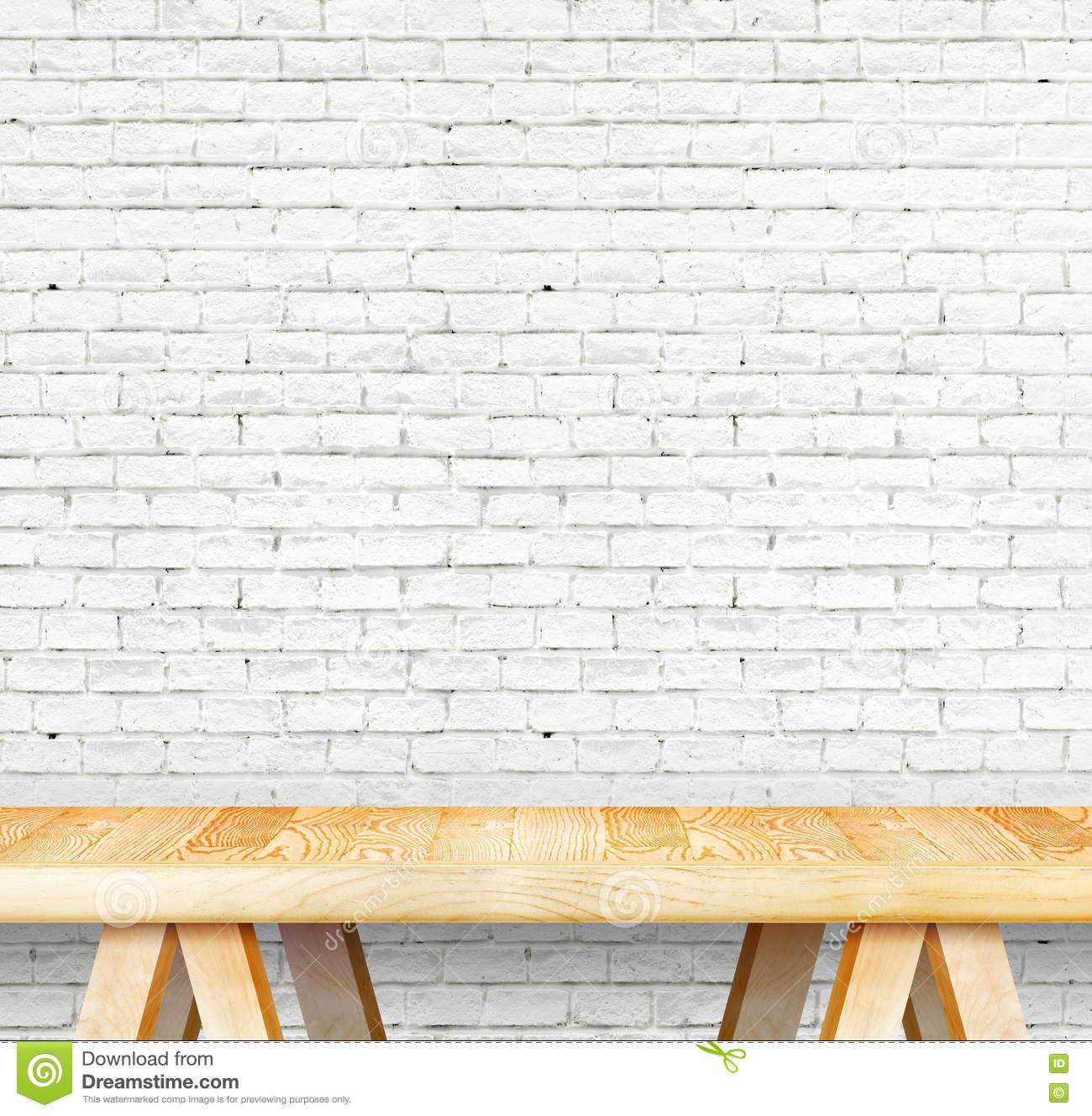Empty Wood Modern Table And Grunge White Brick Wall In