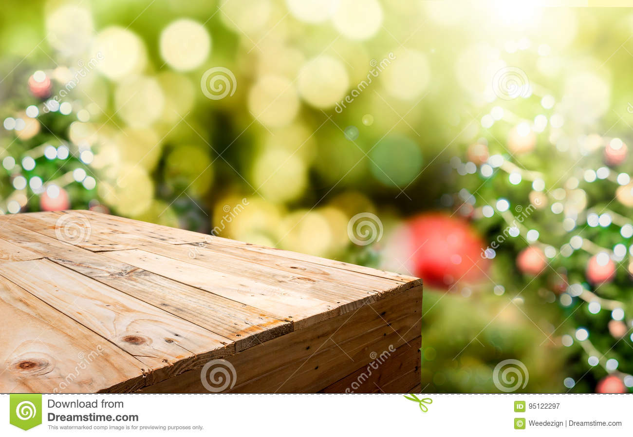 Empty Wood Plank Food Stand With Blur Christmas Tree Bokeh Light