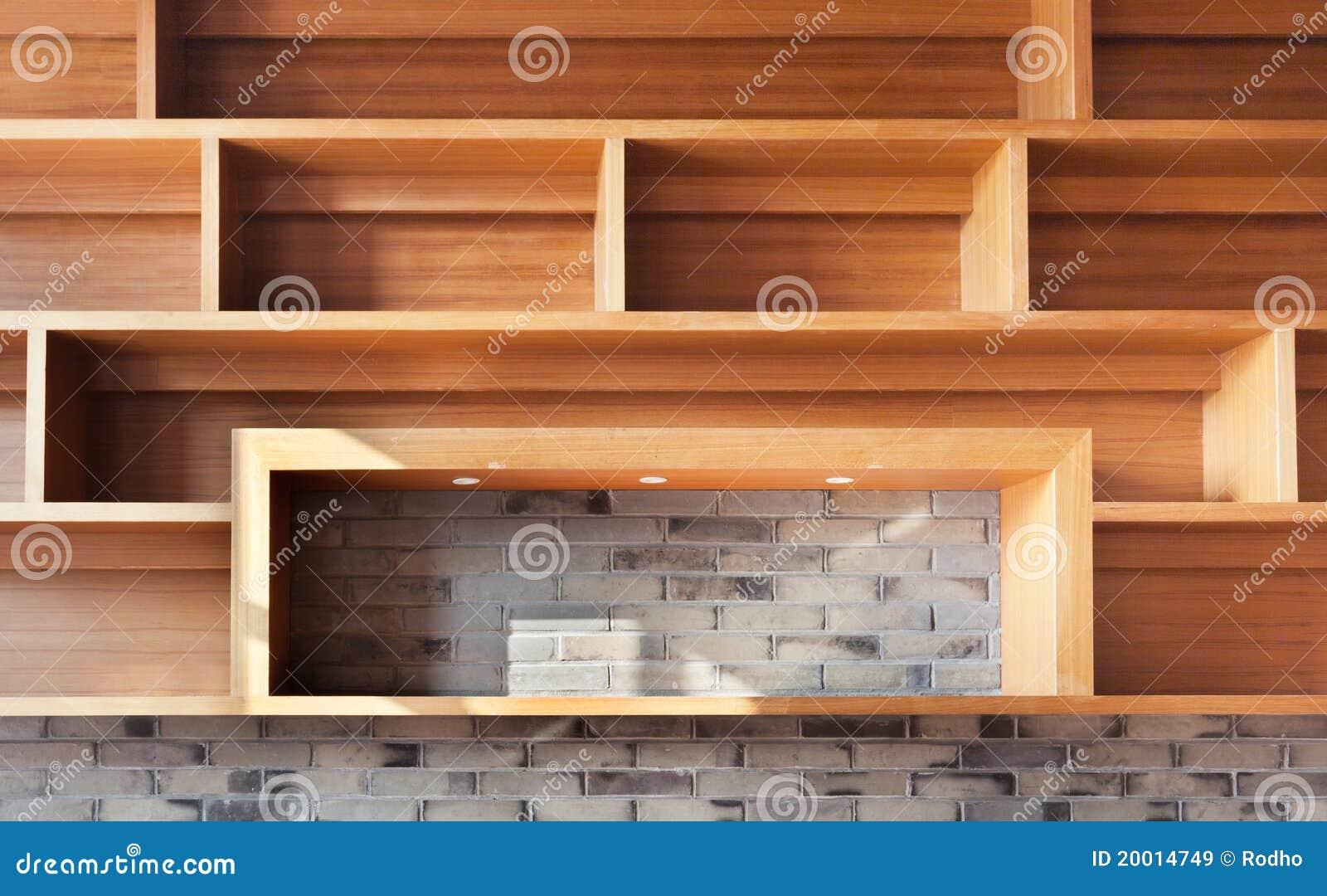 Empty Wood Shelf On Brick Wall Royalty Free Stock Images - Image ...