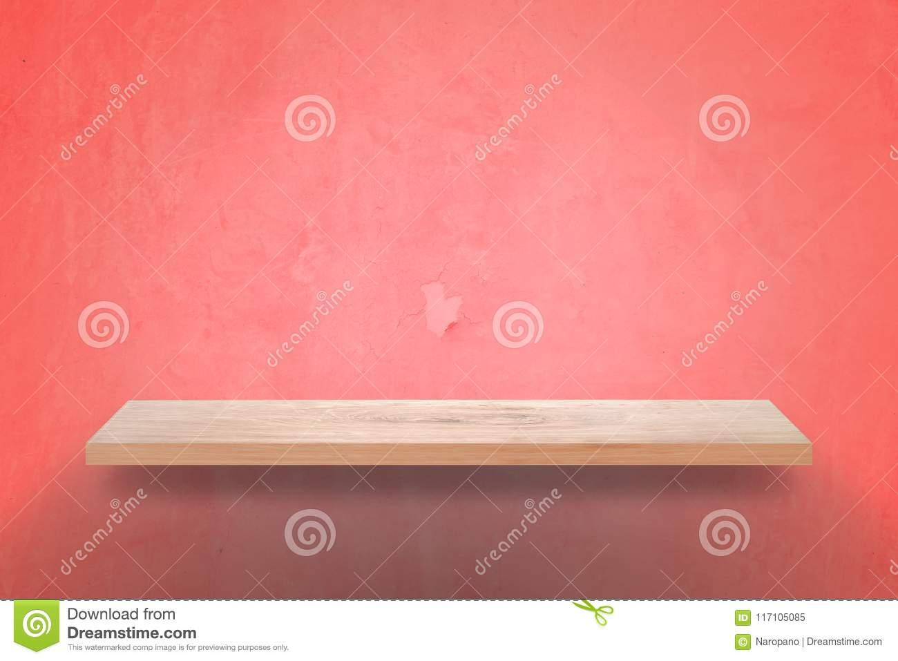 Empty wood shelf with grunge pink wall background