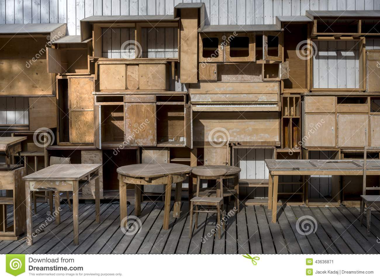 Empty Wood Shelfs And Old Vintage Furniture Stock Image - Image: 43636871