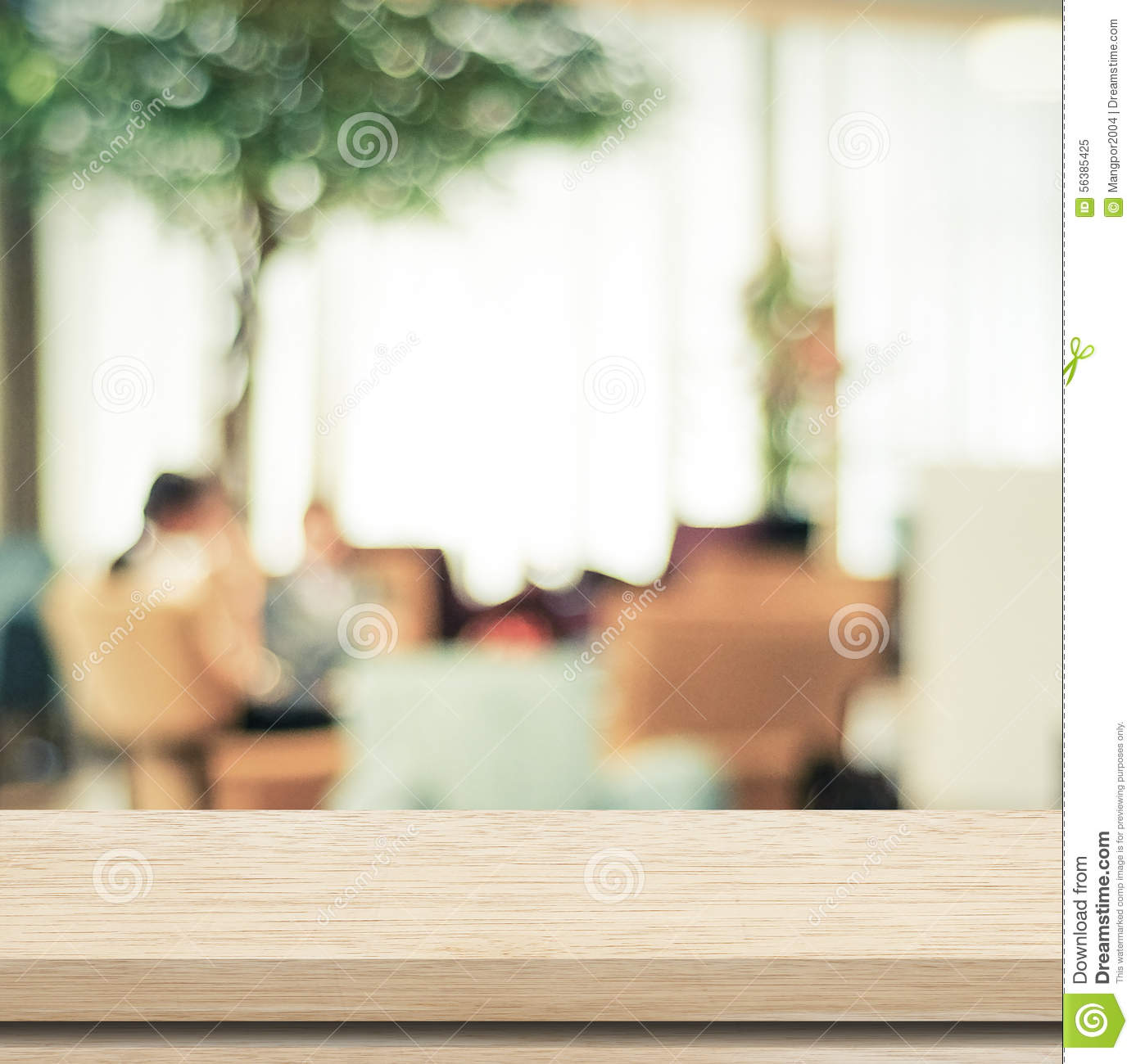 Empty wood table and blurred living room background stock photo - Background Blurred Bokeh Cafe Display Empty Light Product Table Wood