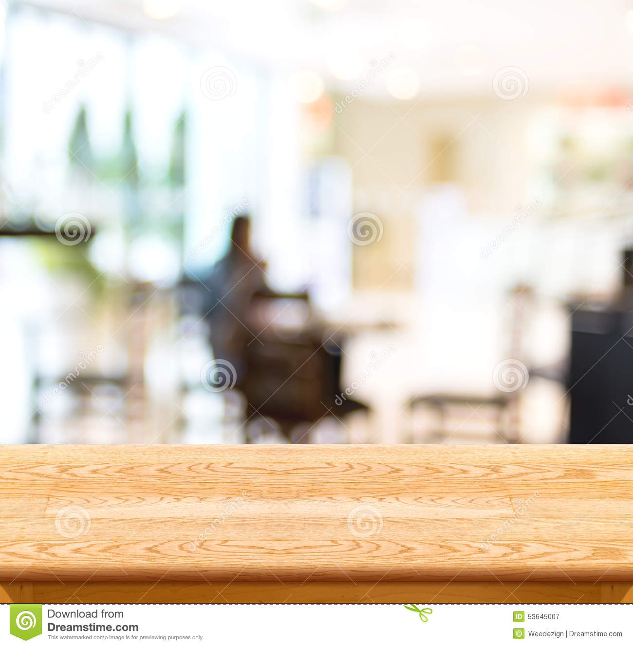 Empty wood table and blurred living room background stock photo - Background Blurred Business Cafe Display Empty Light Presentation Product Table Template Wood
