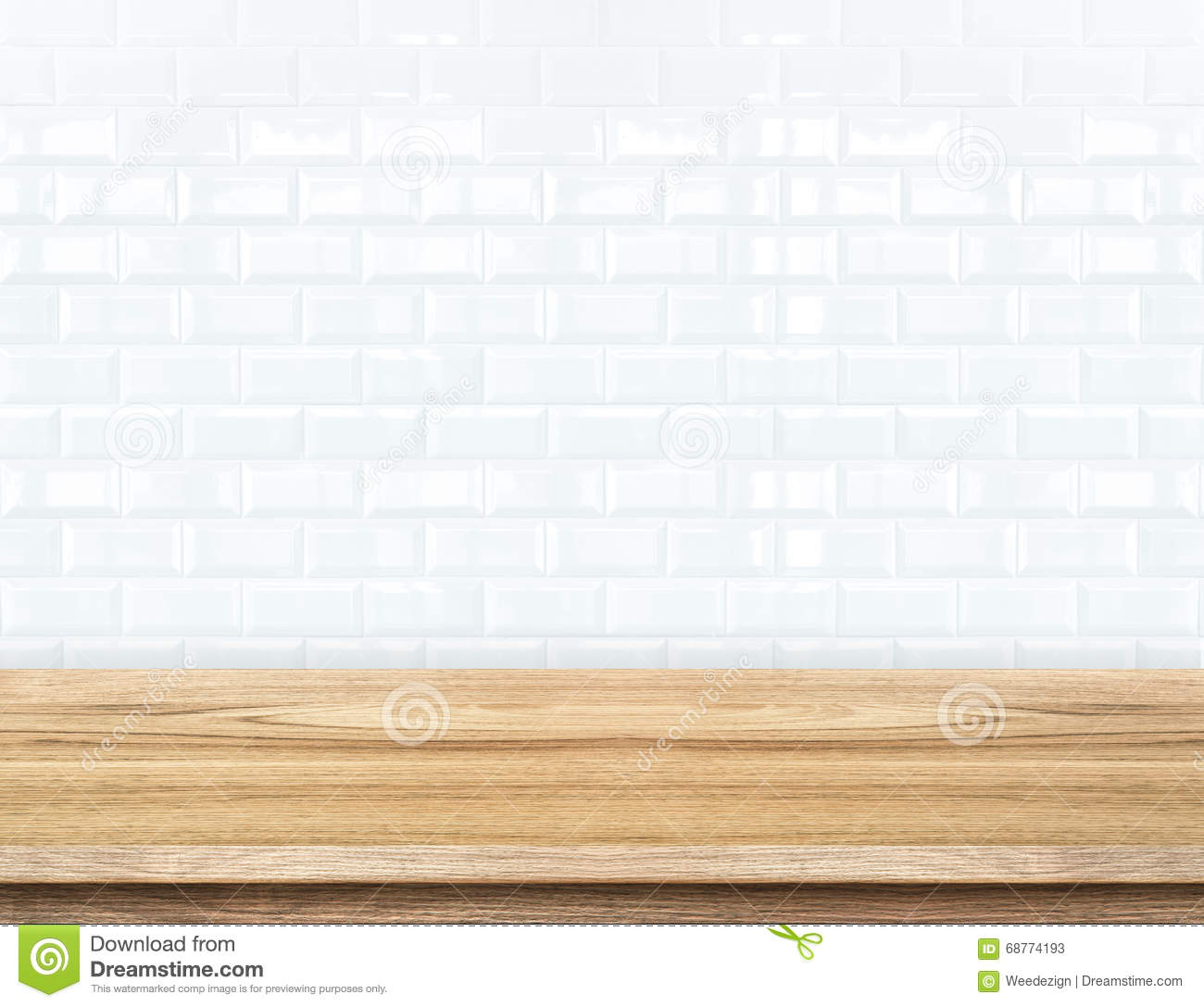 Empty wood table and ceramic tile brick wall in background prod royalty free stock photo dailygadgetfo Gallery