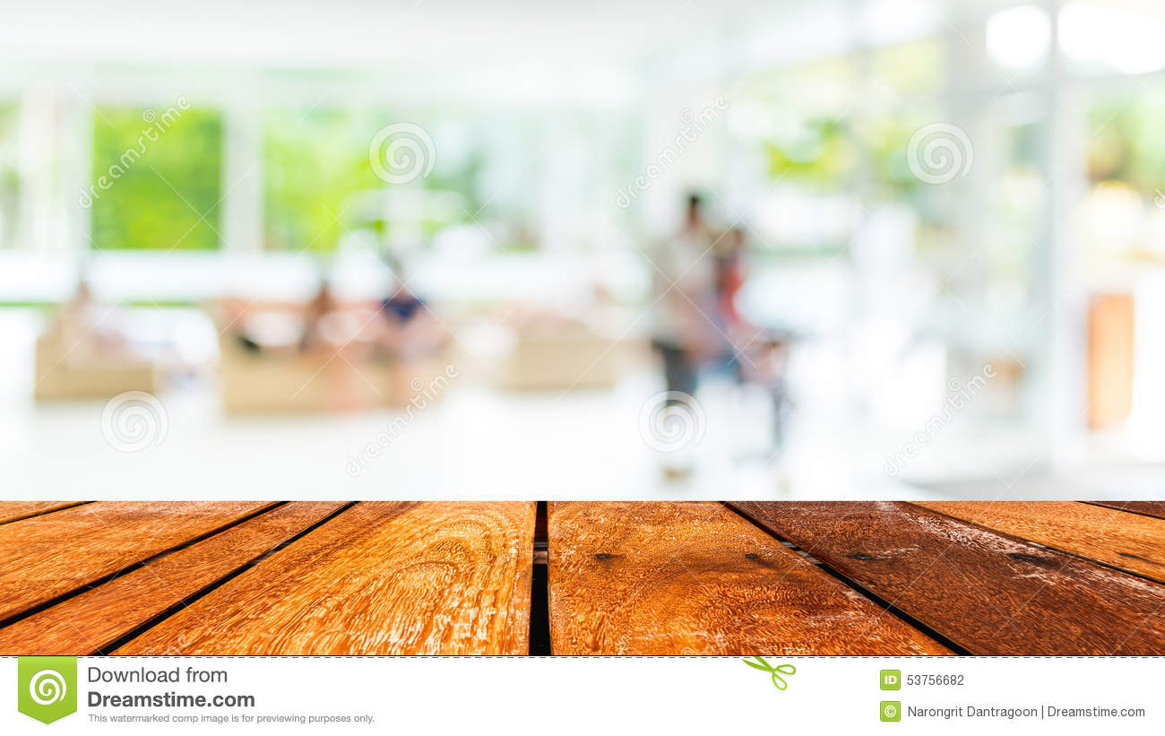 Empty wood table and blurred living room background stock photo - Empty Wood Table And Coffee Shop Blur Background With Bokeh Imag Stock Photo