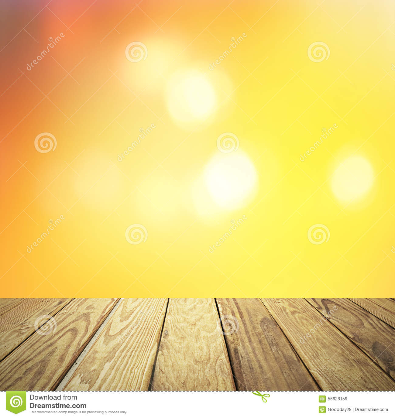 Wood Table Top On Blurred Beach Background Vintage Tone: Sunset Blurred Background Royalty-Free Stock Photo