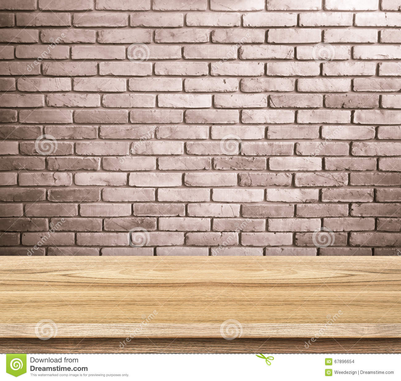Plain wood table with hipster brick wall background stock photo - Plain Wood Table With Hipster Brick Wall Background Stock Photo Plain Wood Table With Hipster