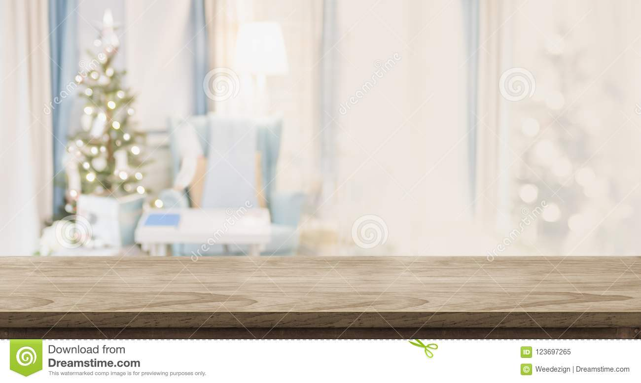 Empty Wood Table Top With Abstract Warm Living Room Decor