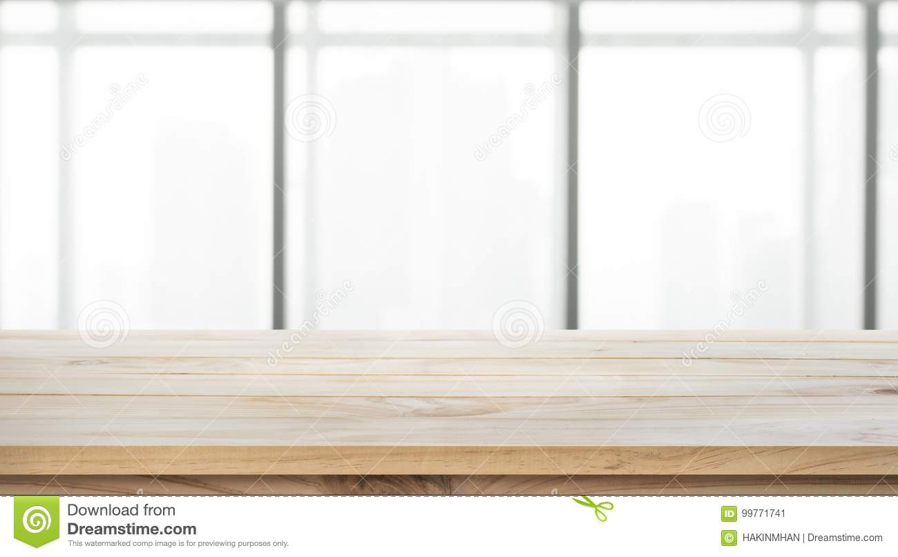 Empty Of Wood Table Top On Blur Big Window Office Background
