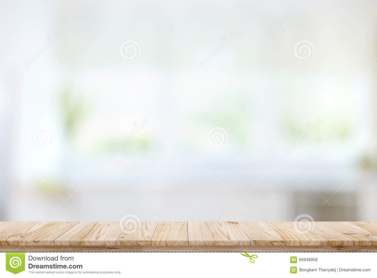 Empty Wood Table Top On Blur Kitchen Window Background ...